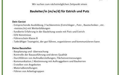 Bauleiter/in (m/w/d) für Estrich und Putz
